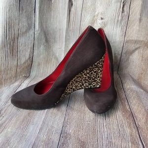 Nine West Roryo Brown Suede Wedges Heels Sz 9M